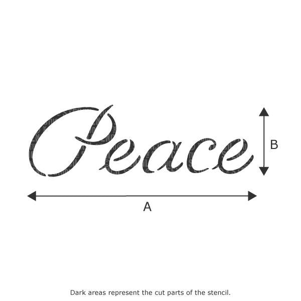 Peace text stencil from The Stencil Studio Ltd