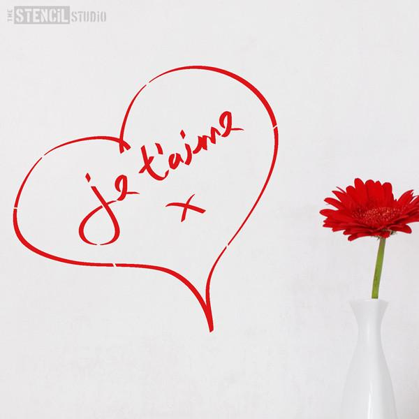 Je T'aime Heart stencil from The Stencil Studio Ltd - Size S