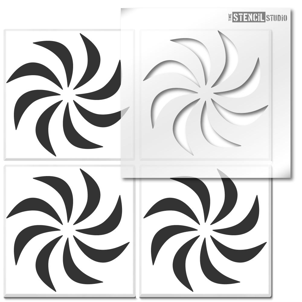 Pinwheel Motif Tile Stencil from The Stencil Studio