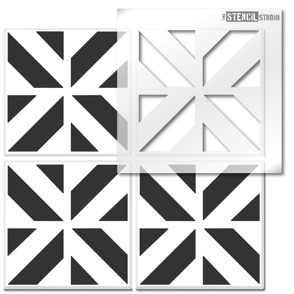 Chevron Cube Tile Stencil from The Stencil Studio