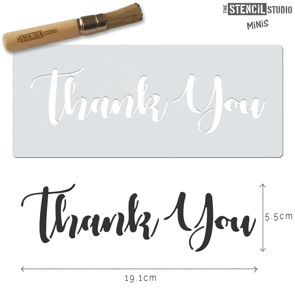 Stencil MiNiS - Thank You text stencil from The Stencil Studio