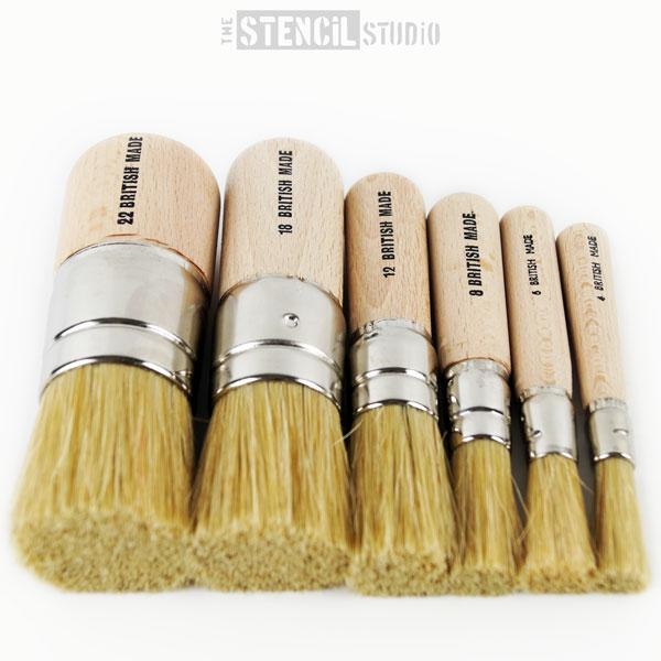 Stencil Brushes - Set of 6 brushes for stencilling from The Stencil Studio