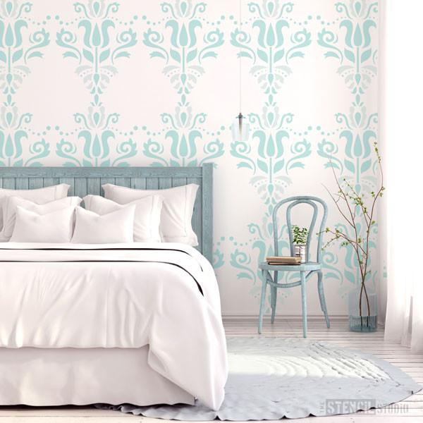 Scandi damask stencil from The Stencil Studio Ltd - size is XL