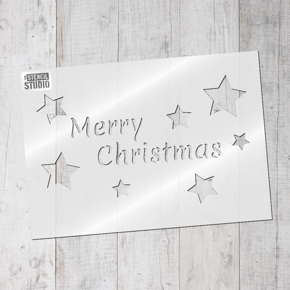 Merry Christmas and stars stencil from The Stencil Studio