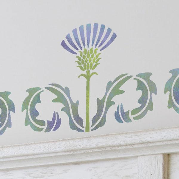 A close up of Thistle Flourish stencil from The Stencil Studio - Size XS
