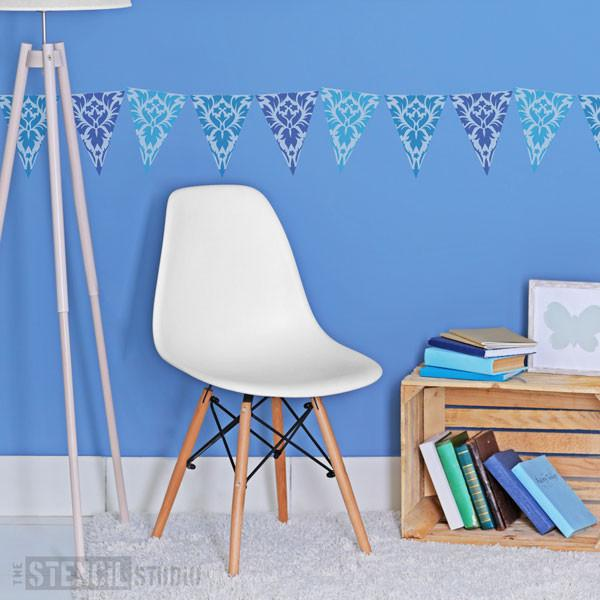 Damask Bunting stencil from The Stencil Studio Ltd - Size XS