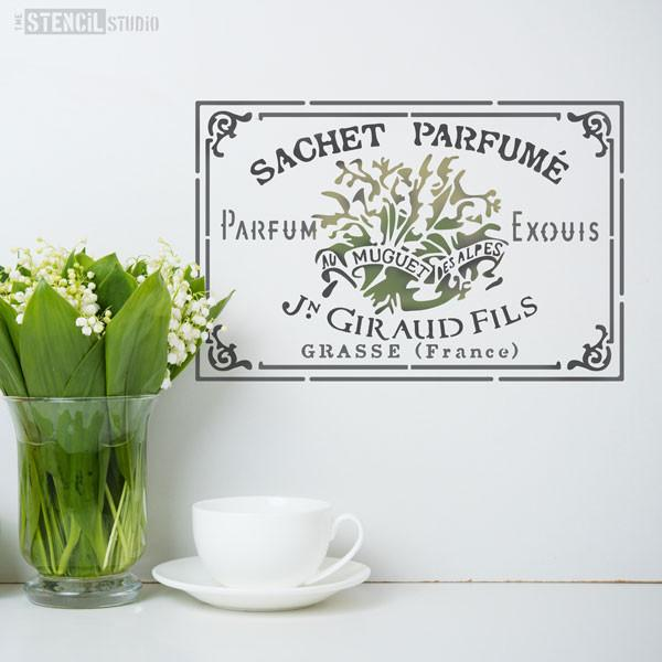 Sachet Perfume - Lily of the Valley French perfume label shabby chic stencils from The Stencil Studio - Size S