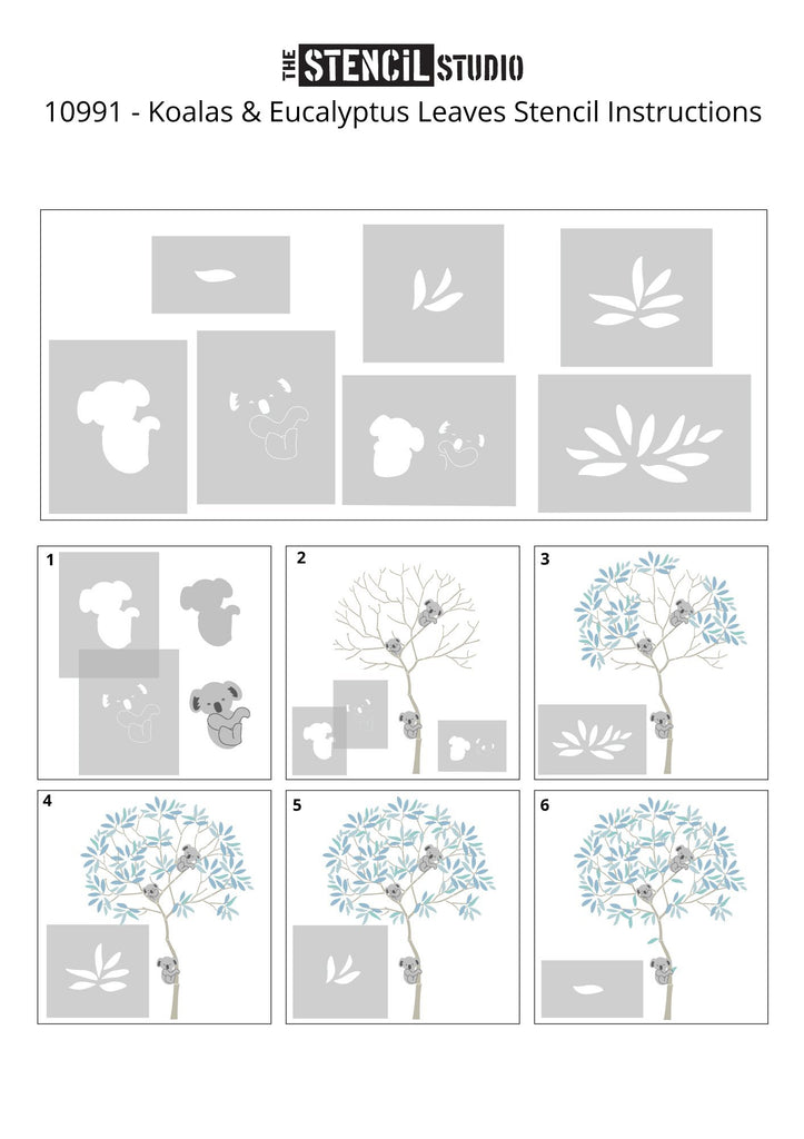 Round Tree with Koalas and Eucalyptus Leaves stencil pack - adding the details to the tree