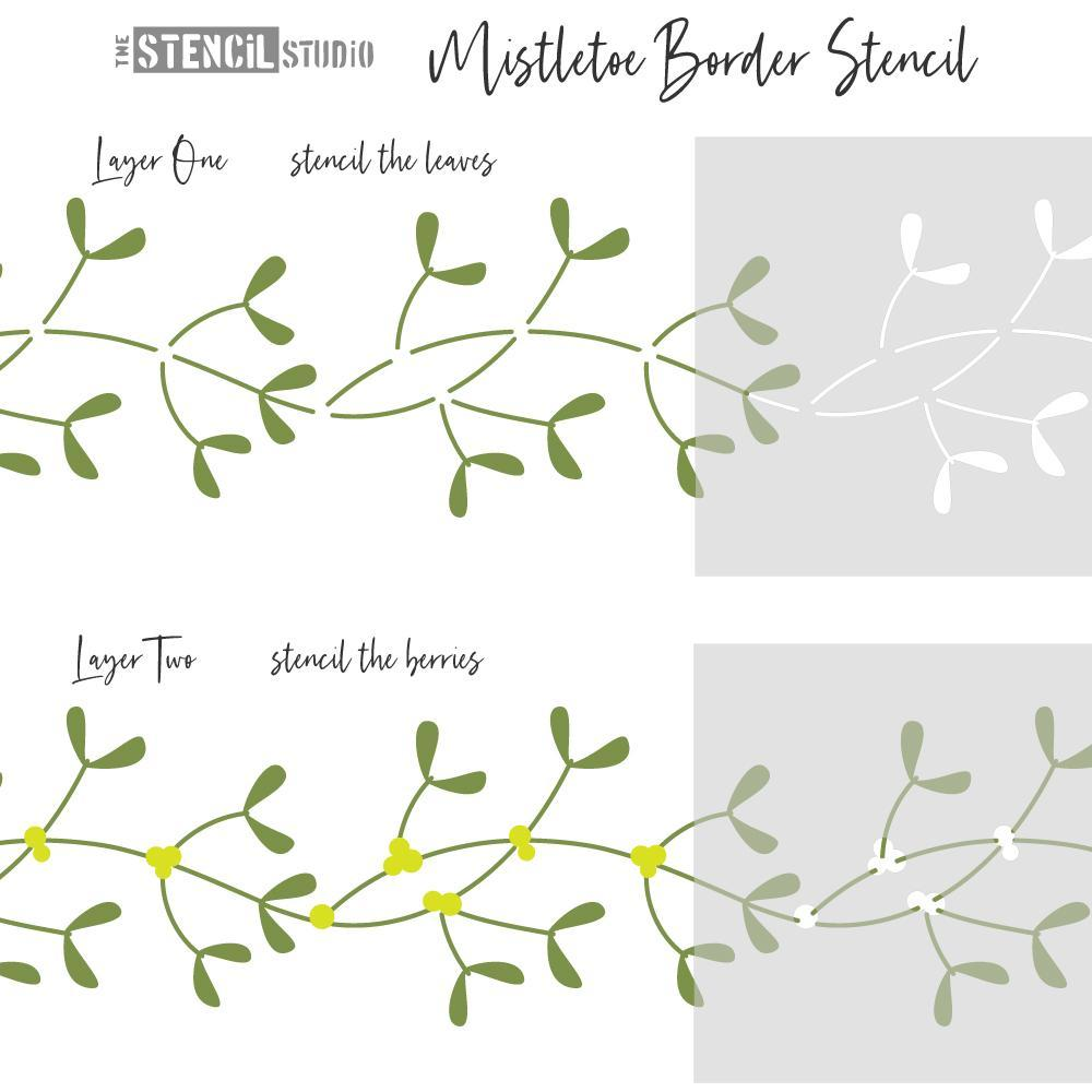 Mistletoe Border Stencils - For crafts at Christmas