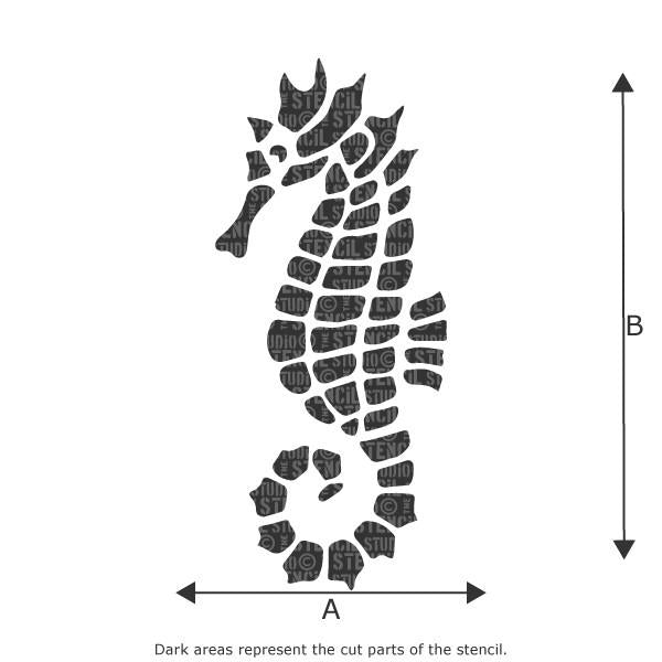 Mosaic Seahorse stencil from The Stencil Studio Ltd