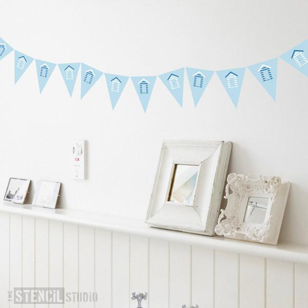 Beach Hut Bunting stencil from The Stencil Studio Ltd - Size XS