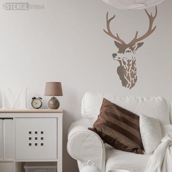 Highland Stag Stencil from The Stencil Studio Ltd - stencils for walls and home decor stenciling - Size XL