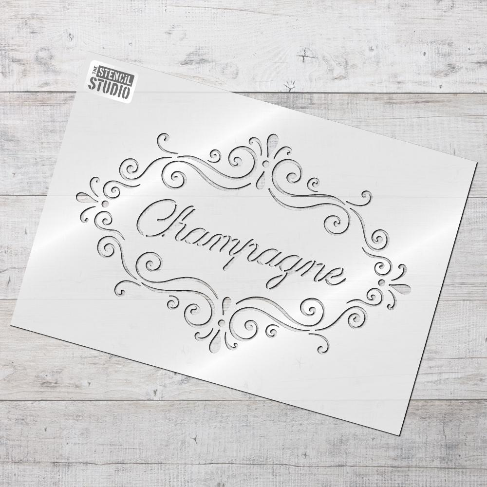 Champagne text in a frame stencil - French Vintage style stencils from The Stencil Studio Ltd
