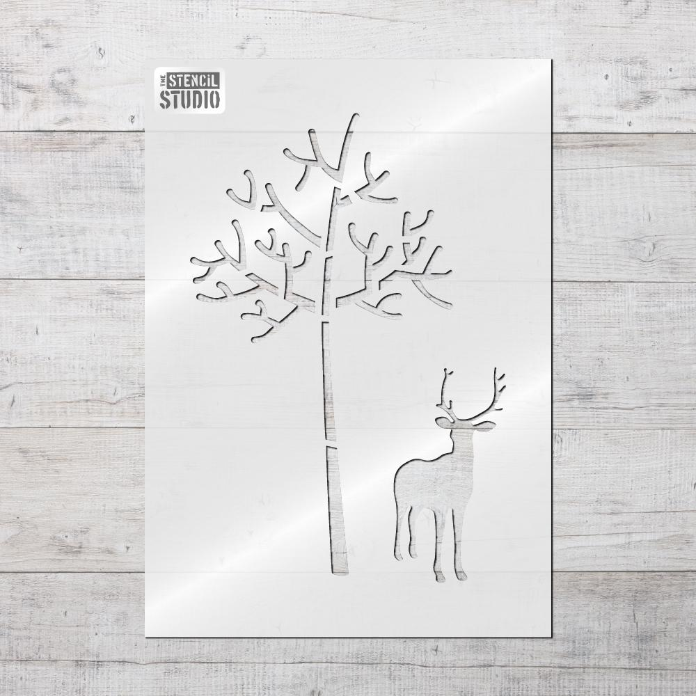 Deer & Tree Stencil from The Stencil Studio