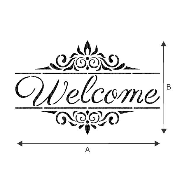 Welcome text with decorative border - word stencils from The Stencil Studio
