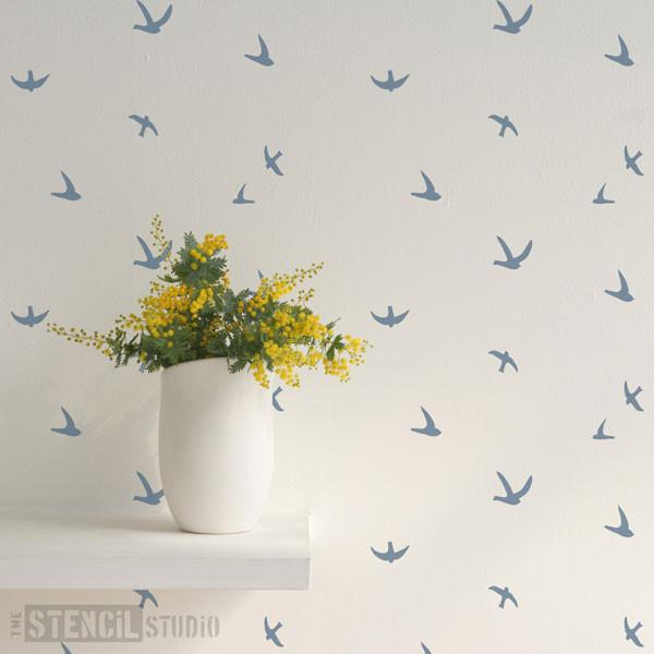 Flight of Swallows stencil from The Stencil Studio Ltd - Size XS