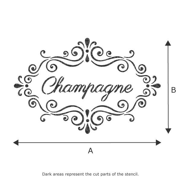 Champagne text in a frame stencil, see dropdown