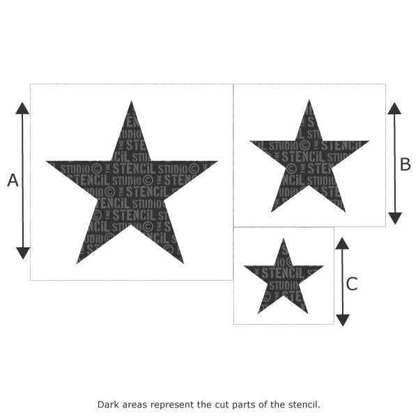 Star stencil set (3 stars) from The Stencil Studio Ltd