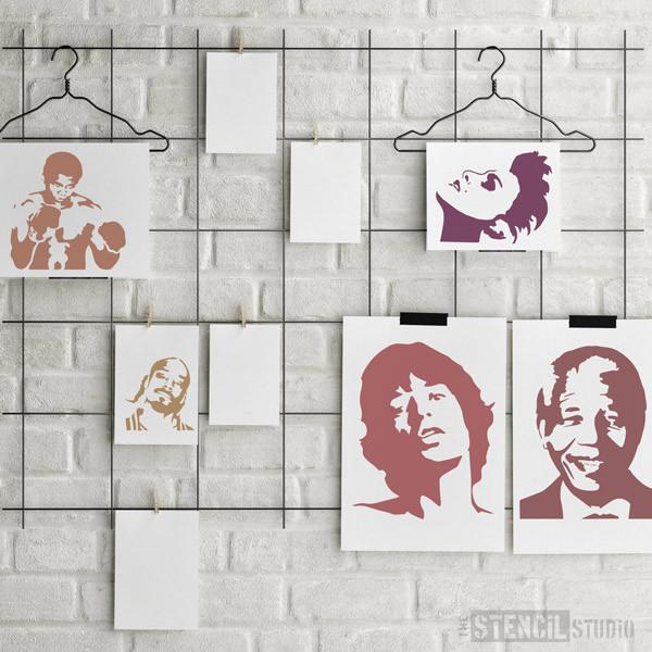 Snoop Dog stencil from The Stencil Studio Ltd, seen here with some of other Famous Faces stencils - Size XS/A5