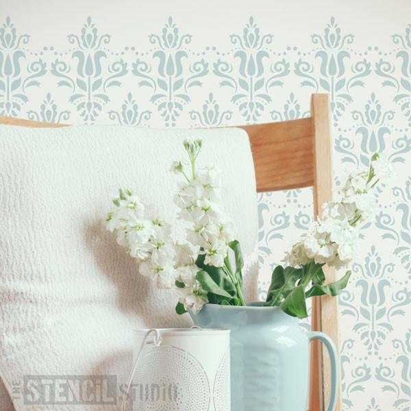 Scandi Damask Stencil from The Stencil Studio Ltd - Size XS