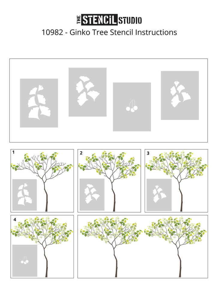 Triangle Tree with Ginko leaves and berries from The Stencil Stencil - stencil instruction sheet