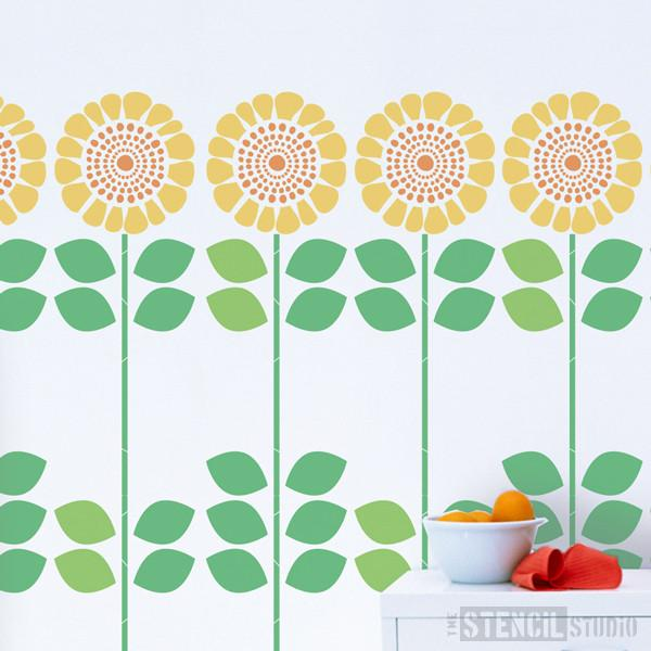 Solsikke sunflower stencil from The Stencil Studio Ltd - Size XL