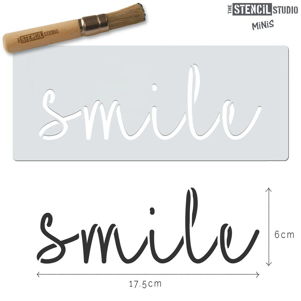 Smile text stencil MiNi from The Stencil Studio