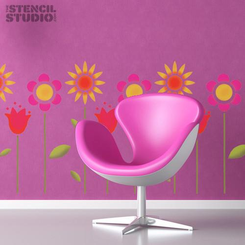 Funky flowers stencil from The Stencil Studio Ltd - Size XL