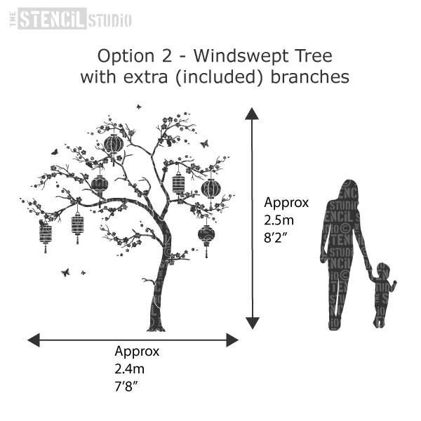 The Windswept tree with approximate size when fully assembled. Sakura tree stencil pack from The Stencil Studio