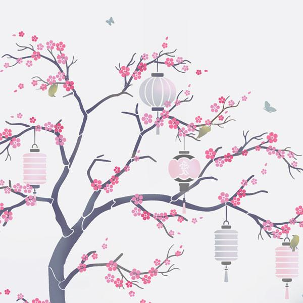 Cherry Blossom Nursery Tree stencil pack from The Stencil Studio