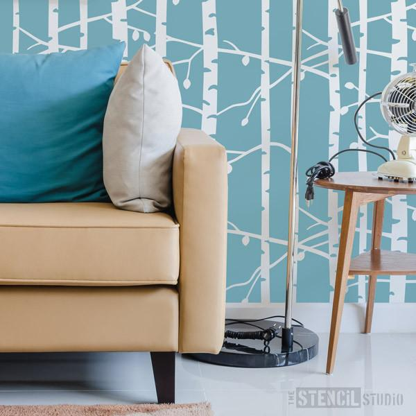 Birch Tree repeat forest stencil from The Stencil Studio Ltd - Size L. Repeat this stencil for a wallpaper effect in a Scandi style decor scheme.