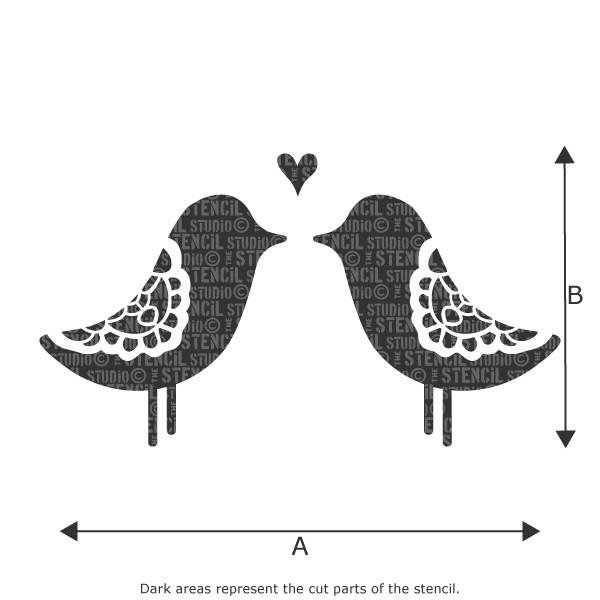 Love Birds stencil from The Stencil Studio Ltd