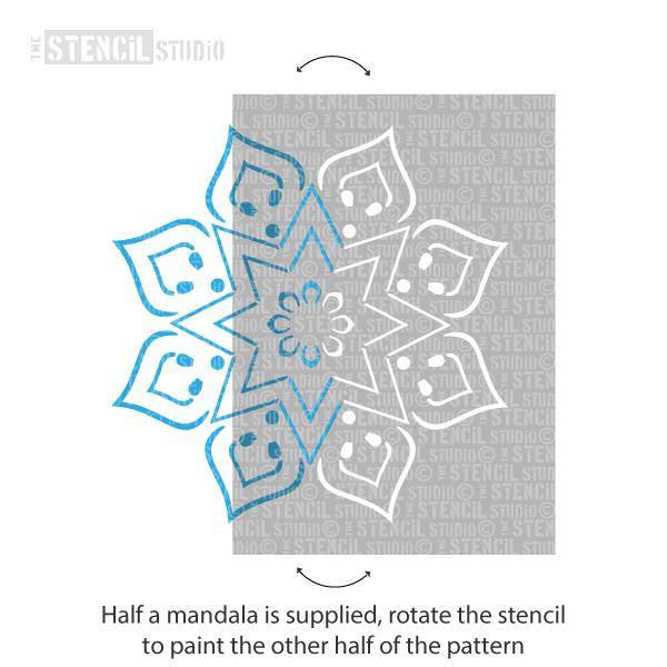 Mandi Mandal Stencil - Indian stencils from The Stencil Studio Ltd - rotate the stencil to paint the opposite side