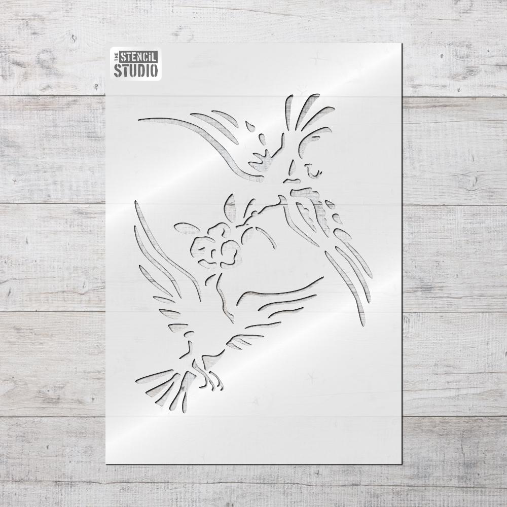 Doves & Rose Stencil - Vintage French label stencils from The Stencil Studio