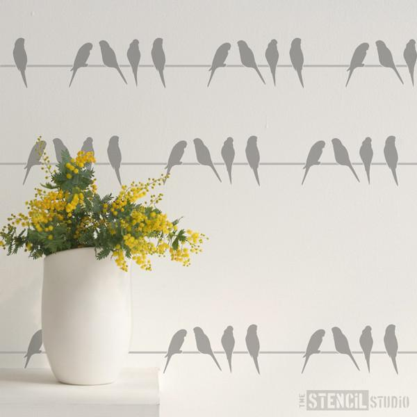 Budgies Border stencil from The Stencil Studio Ltd - Size XS