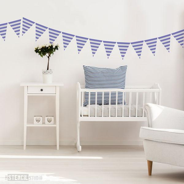 Stripe Bunting stencil from The Stencil Studio mix and match bunting stencils - size XS/A5