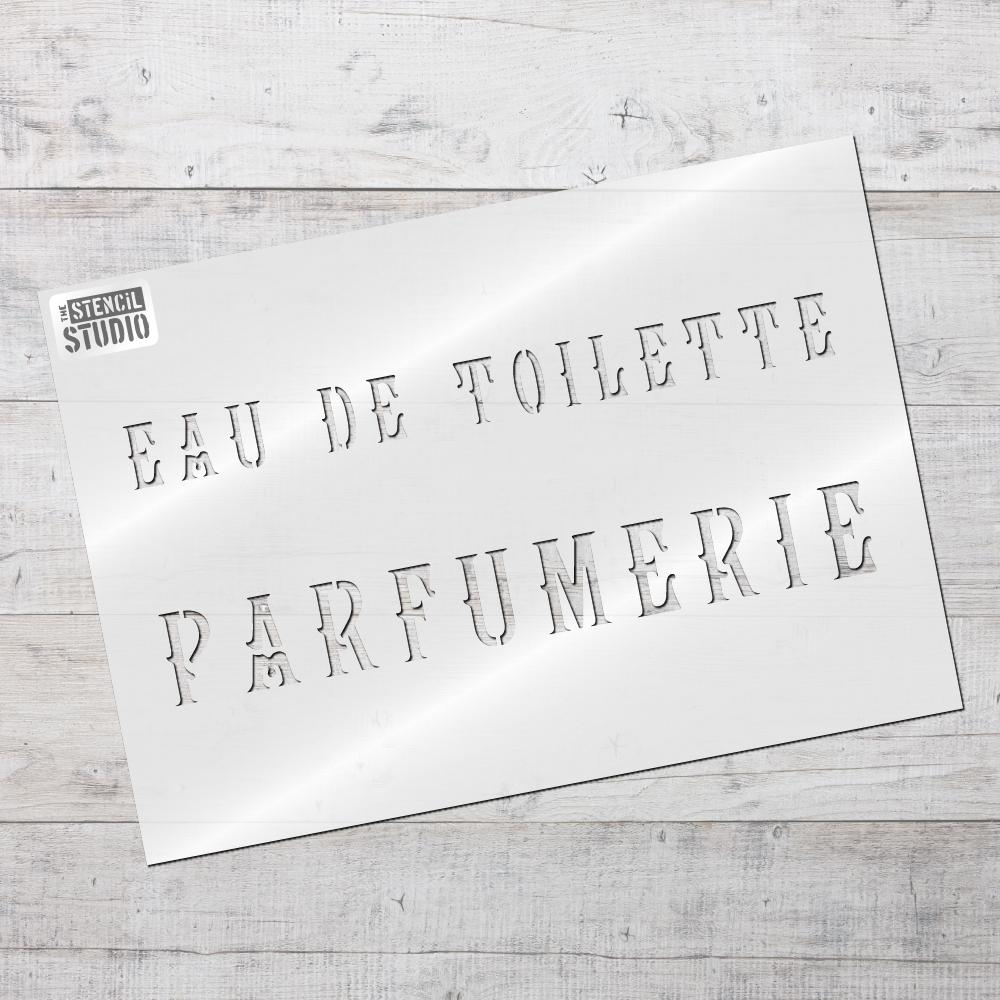Eau de Toilette Parfumerie stencil from The Stencil Studio
