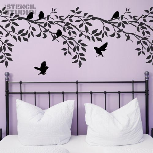 Sparrows and Branch Stencil from The Stencil Studio Ltd - Size XL