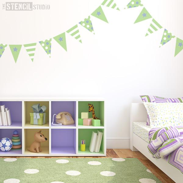 bunting for boys stencil from the stencil studio ltd size S