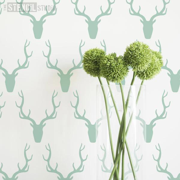 Simple Stag's Head Stencil from The Stencil Studio Ltd - Size XS