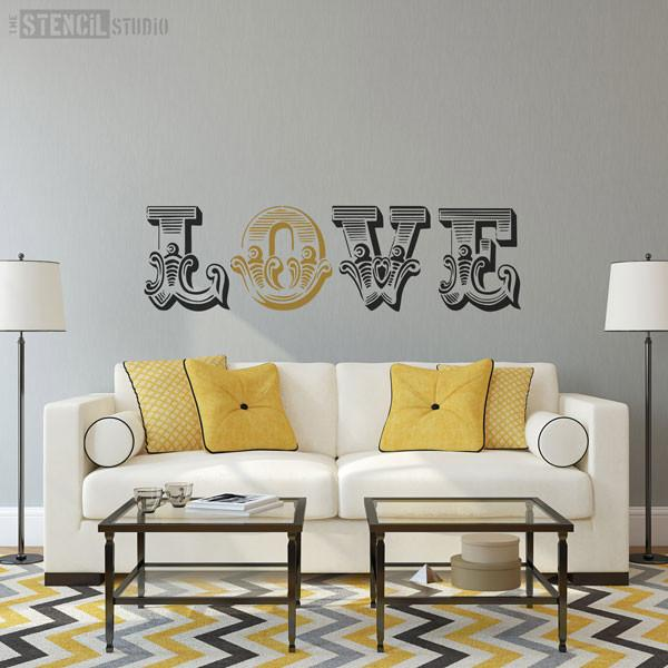 LOVE Circus letters stencil from The Stencil Studio Ltd - Size XL