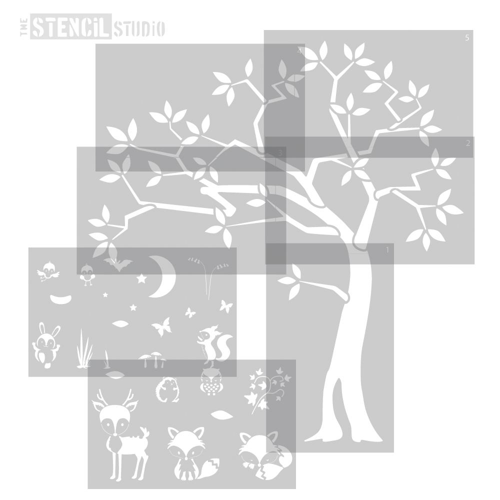Woodland tree and animals stencil set from The Stencil Studio