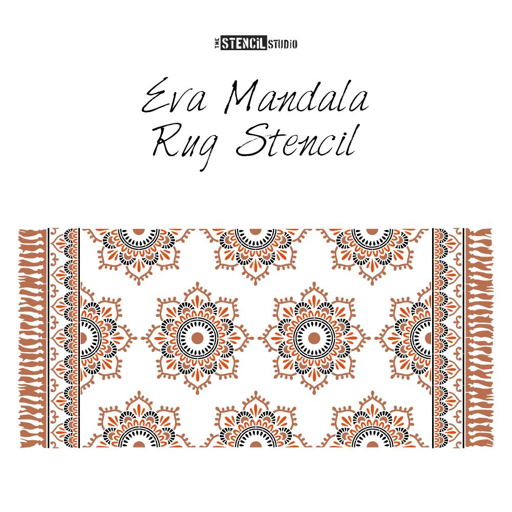 Eva Mandala patio rug stencil from The Stencil Studio