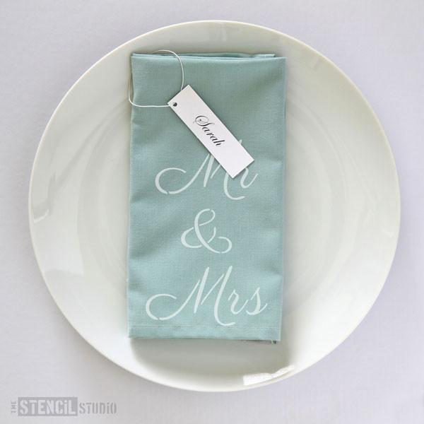 Mr & Mrs text stencil from The Stencil Studio Ltd - Size XS