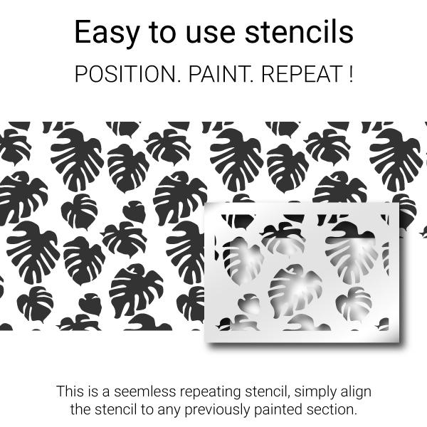 Paint the stencil then move and position over previously painted areas, paint again!