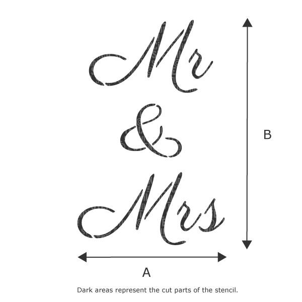 Mr & Mrs text stencil from The Stencil Studio Ltd