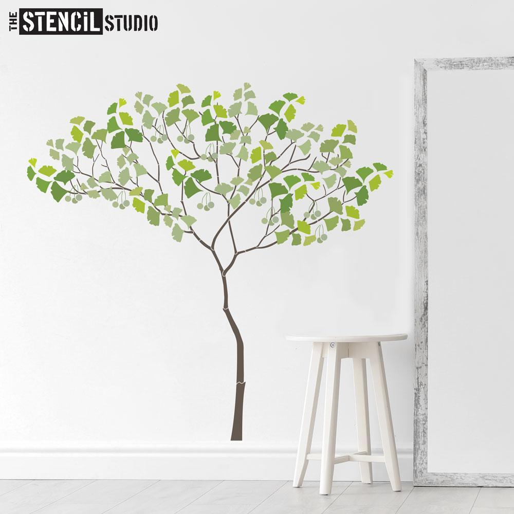 Triangle Tree with Ginko leaves and berries from The Stencil Stencil - Size L