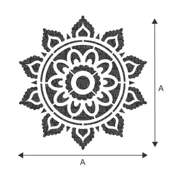 Sunray Mandala Motif Stencil from The Stencil Studio Ltd - See drop down box for sizes for 'A'