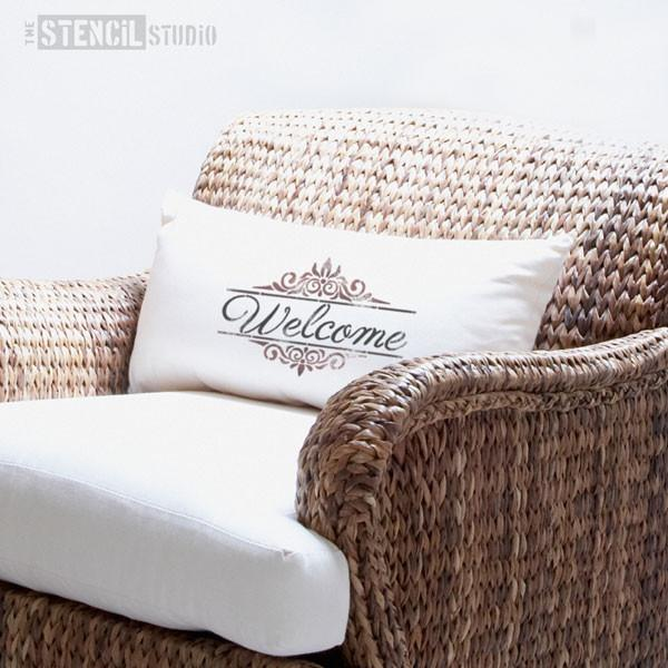 Welcome text with decorative border - word stencils from The Stencil Studio - Size S