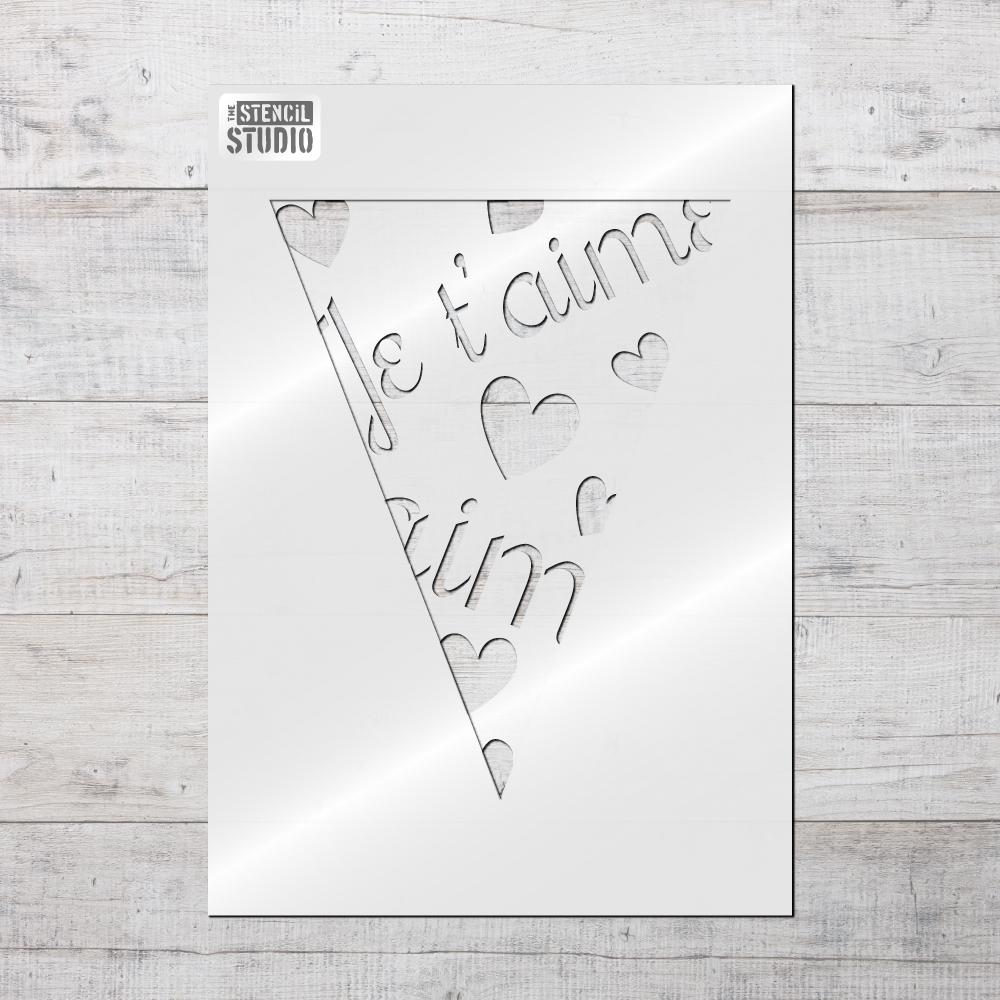 Je T'aime Bunting stencil from The Stencil Studio